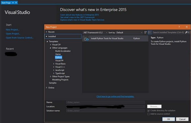 Enterprise Visual Studio 2015 - Python Tools Setup